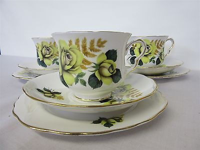 Queen Anne Yellow Roses Bone China, 3 x cup, saucer & side plate trios ( Lot 2 )