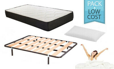 Pack descanso completo LowCost 90x180. Colchon visco, somier 30x30 y almohada