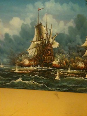 Beautiful Historic Painting Of Ship With The Blue Sky Above (Framed)
