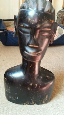 Antique Carved Wooden African Bust - Very Old