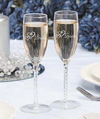 Darice V35922, Bride Groom Twisted Champagne Glasses