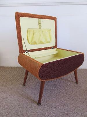 Lovely Large Vintage Retro Atomic Yellow & Brown Sewing Box On Dansette Legs
