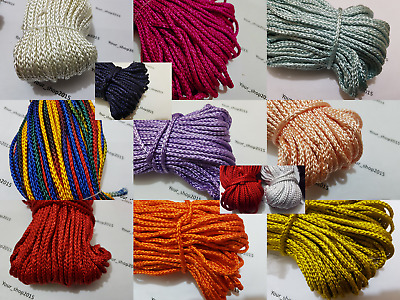 Quality 5 Metres Nylon Braided Cord Thread Twine 4mm 19 SHADES COLOURS