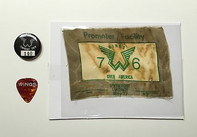 PAUL McCARTNEY & WINGS-1976  OVER AMERICA TOUR GUITAR PICK,BACKSTAGE PASS & PIN