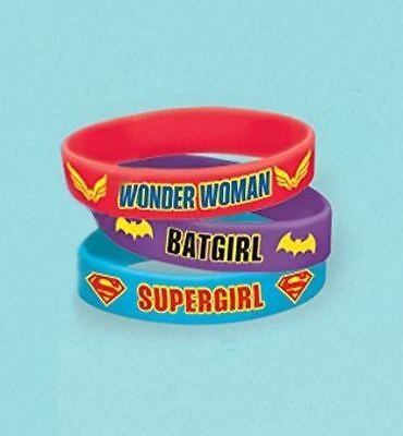 6pk DC Super Hero Girls Rubber Bracelets Childrens Birthday Party Favour