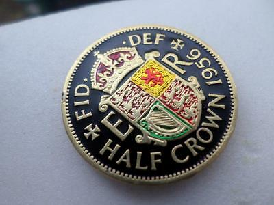 Vintage Hand Painted Half Crown Coin 1956. Birthday Christmas Gift. Lucky Charm