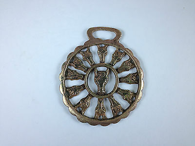 """Horse Brass Cast Horse Head With Horse Head Spokes 3"""" Wide"""