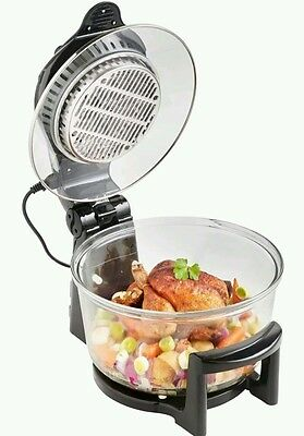 ^10% Lid Halogen Oven Black Hinged 12L