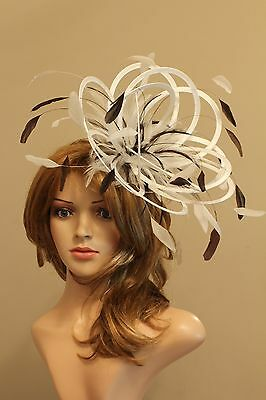 Ivory & Brown Medium Races Fascinator Hat/any satin/highlight feather colour