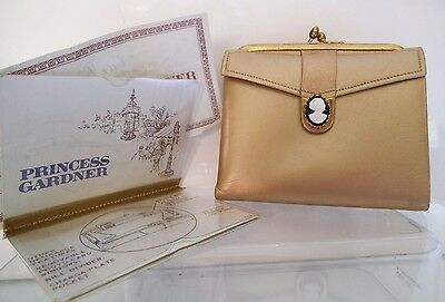 Rare Princess Gardner Golden cowhide leather purse wallet with Cameo Vintage