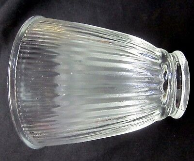 Vintage ribbed scallop clear glass lamp shade sconce fan wall light 2-1/4 fitter