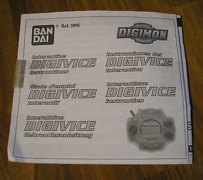 Genuine Bandai Digimon Interactive Digivice Instructions Booklet Very Rare