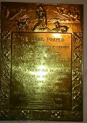"""Vintage Brass Wall Plaque """"The Lords Prayer"""" in good vintage condition"""