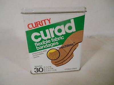 Curad Curity Vintage Flexible Fabic Bandages Metal Tin Box 30 Ouchless Strips