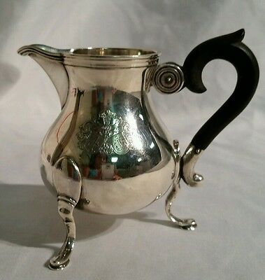 ANTIQUE ULRICH SAUTER SILVER 800 CREAMER COAT OF ARMS FAMILY CREST 147g