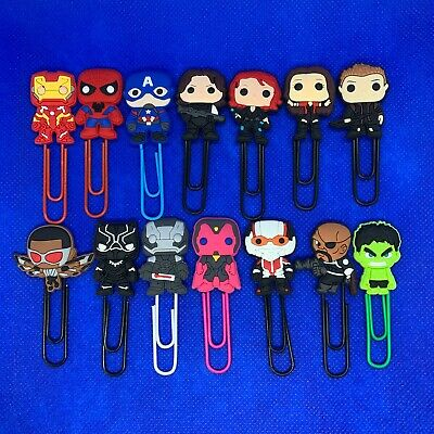 Avengers Superhero - Bobblehead Cartoon Paperclip Bookmark Iron Man Hawkeye NEW