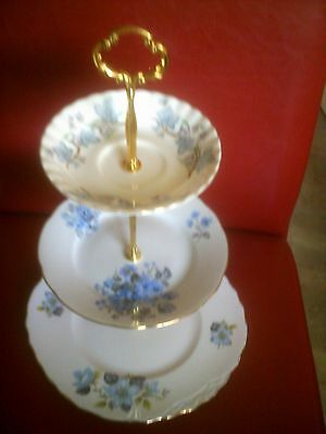 vintage 3 tier mix/match cake stand queen anne +colclough