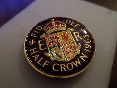 Vintage Enamelled Half Crown Coin 1963. Birthday Present Or Christmas Xmas Gift