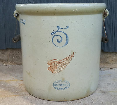Vintage Antique 5 Gallon Red Wing Stonware Crock with Bail Handles