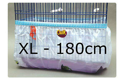 Bird cage tidy seed catcher guard skirt style pile fabric - White - XL 180cm
