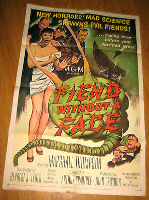 Fiend Without a Face Orig, 1sh Movie Poster '58 giant brain & sexy girl in towel