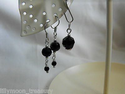 Ethnic style PENDANT & EARRINGS SET faceted black glass crystal drop goth