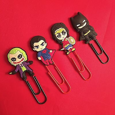 Superhero Cartoon Lego Paperclip Bookmark - DC Batman Joker Superman Wonder NEW