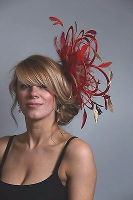 Red & Gold Fascinator Hat/choose any other  feather colour