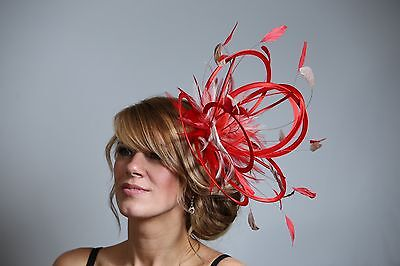 Red & Taupe Nude Fascinator Hat/choose any other highlight feather colour/satin