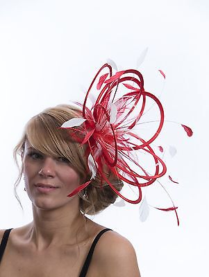 New Red & White Fascinator Hat/choose any other highlight feather colour/satin