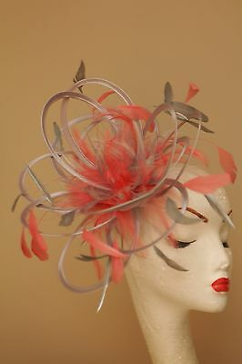 Silver & Coral Pink Fascinator Hat/choose any colour satin and feather colour