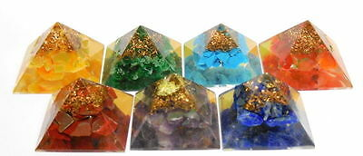 Set of Chakra Stone Pyramid Orgone Pyramid for Reiki Healing Crystal Stone Heal