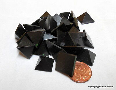 Black Tourmaline Small Pyramids Lot Of 5 Pyramids For Reiki Healing Energy
