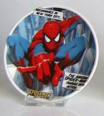 """MARVEL SPIDERMAN CERAMIC MINI COLLECTOR GIFT PLATE 4""""-10cm with STAND"""