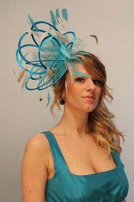 Turquoise & Taupe Nude  Fascinator Hat/Choose any satin/highlight feather colour