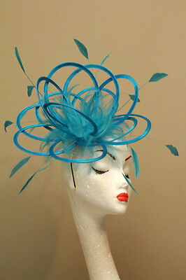 Turquoise Blue Wedding Fascinator Hat/Choose any satin/highlight feather colour