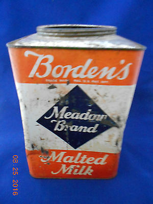 Vintage Advertising Borden's Meadow Brand Malted Milk Can Tin