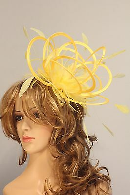 Bright yellow & Yellow Fascinator Hat/any satin/highlight feather colour