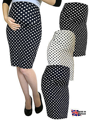 Maternity Dot Stretch Pencil Bodycon Midi Skirt Over Bump Pregnancy Uk Made