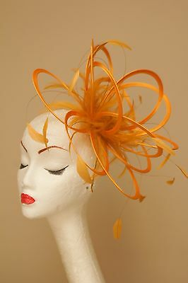 Mustard Yellow Fascinator Hat/any satin/highlight feather colour