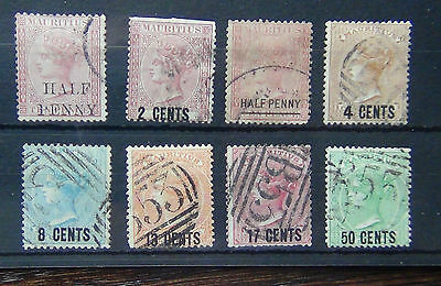 Mauritius QV Range of Surcharges and Overprints used