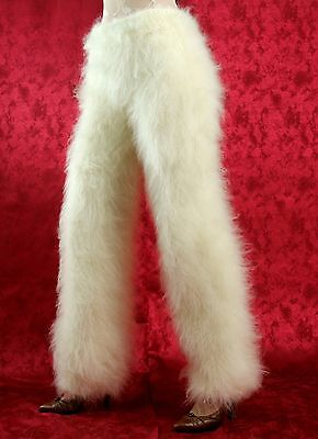 SUPERTANYA IVORY hand knitted pants fuzzy mohair trousers leg warmers leggings