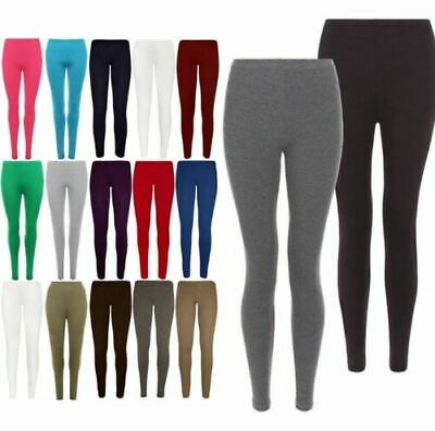 Womens Ladies Plain Cotton Full Length Leggings Black + Colours UK Size 6 - 30