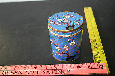 Chinese Pink White Blossoms Cloisonne Enamel Trinket Humidor Canister Jar Box