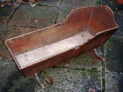 Fine Early 1800's PA. Hand-Dovetailed CRADLE, Original Surface, Brown- RED Wash