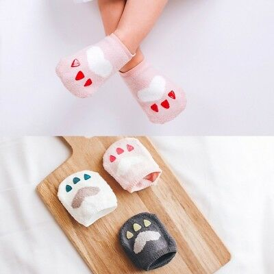 Non Slip Warm Cute Girls Boys Slipper Fluffy Bed Socks Super Soft Fleece 0-2 3-4