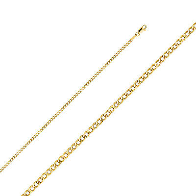 958cd84430fd Solid 14k Yellow Curb Links Gold 2.3 mm Chain Necklace Cadena Cubano Oro  Solido