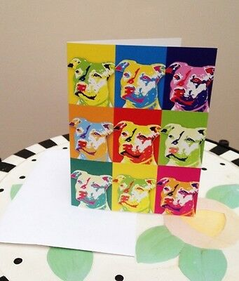 Red Nose Pit Bull Pop Art Note Cards - Set of 5 - New - FREE SHIPPING
