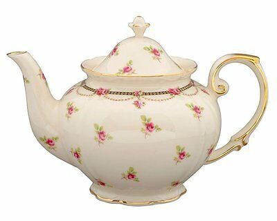 Gracie China by Coastline Imports Pink Petite Fleur Porcelain 3-Cup Tea Pot