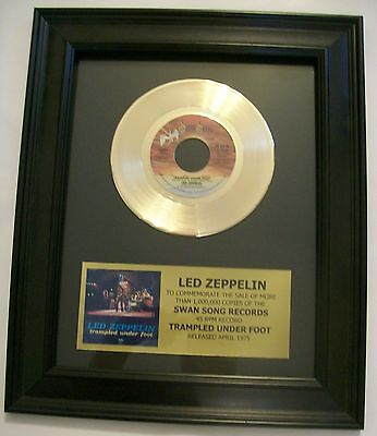 Led Zeppelin TRAMPLED UNDER FOOT Gold 45 Record + Album Sleeve Not a RIAA Award